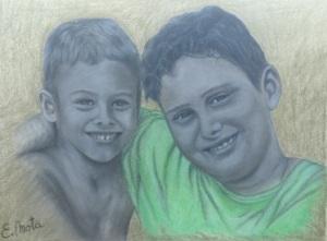 Retrato a carbón y pastel sobre papel. Dimensiones 30x24cm