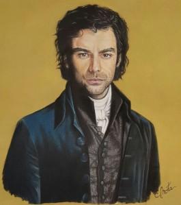 """Retrato de """"Poldark"""" (Aidan Turner). Pastel sobre papel cartón. Tamaño: 50x50cm"""