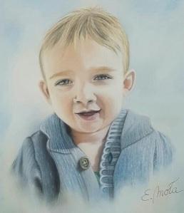 Retrato infantil. Pastel sobre papel. Tamaño: 40x40cm