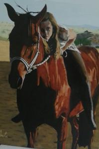 Retrato de Marta. Acuarela sobre lienzo. Tamaño: 60x80 cm